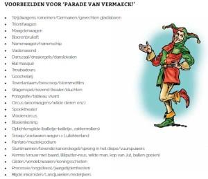 Themabrochure Parade van Vermaeck Brabantsedag Heeze. Erfgodeducatie.